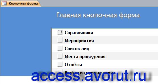 база данных Access «Намечаемые мероприятия».