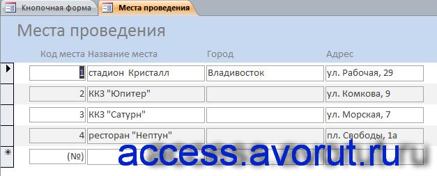 Готовая база данных Access «Намечаемые мероприятия». Места проведения.