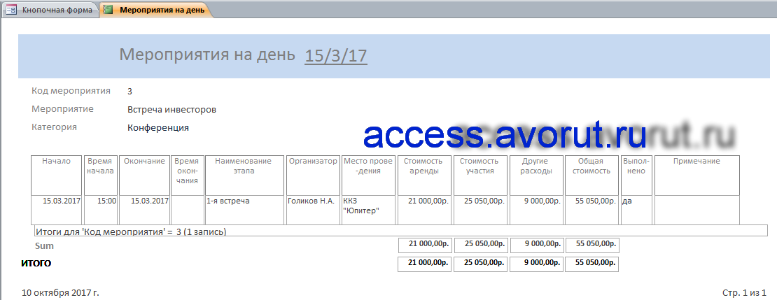 база данных Access «Намечаемые мероприятия». Мероприятия на день.