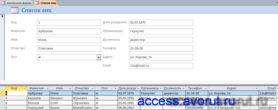 Готовая база данных Access «Намечаемые мероприятия»