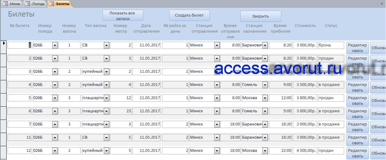 курсовая работа железнодорожный вокзал, база данных access Заказ билетов на поезд