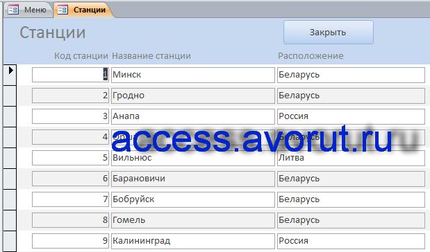 база данных access Заказ билетов на поезд.
