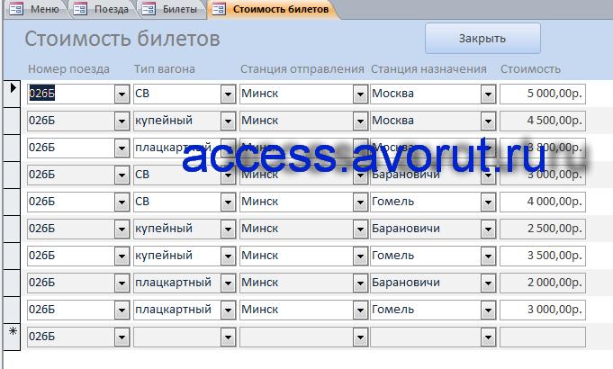 Скачать базу данных access Заказ билетов на поезд, база данныхжелезнодорожные кассы