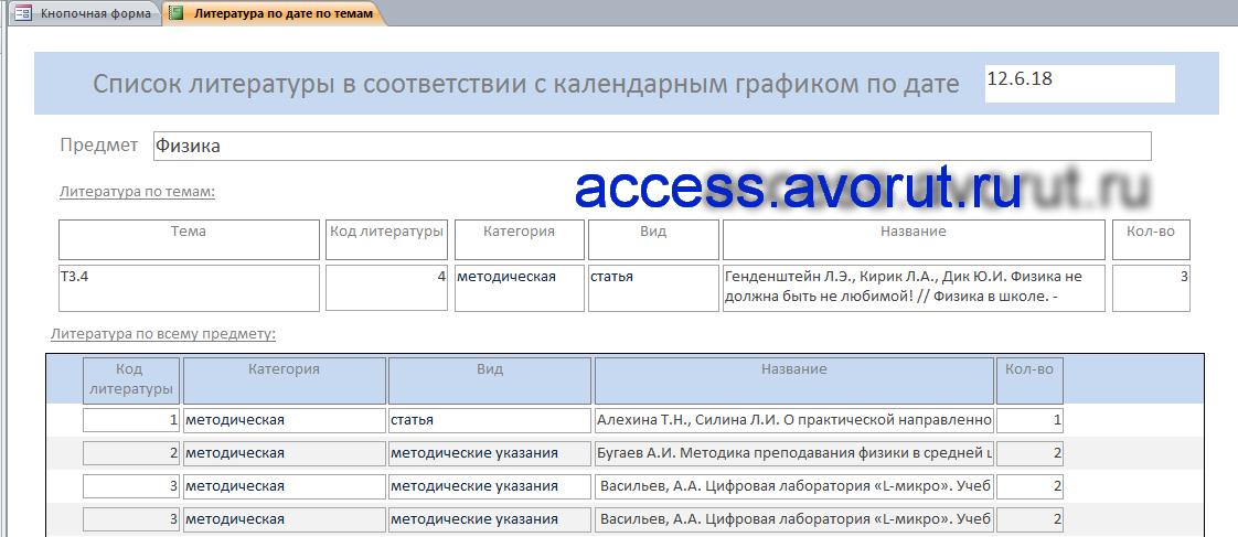 Скачать базу данных Access «Учёт литературы по предметам и темам»