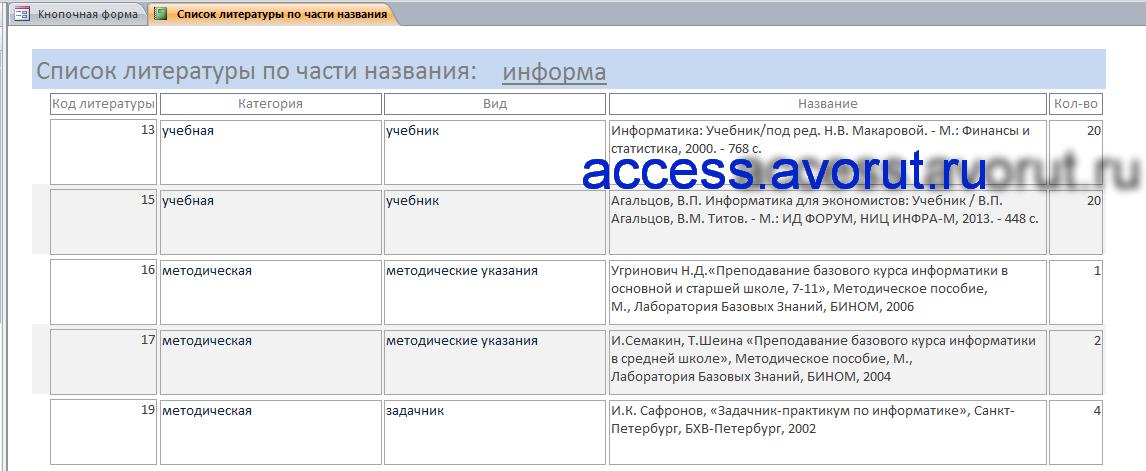 Готовый пример базы данных Access «Учёт литературы по предметам и темам»
