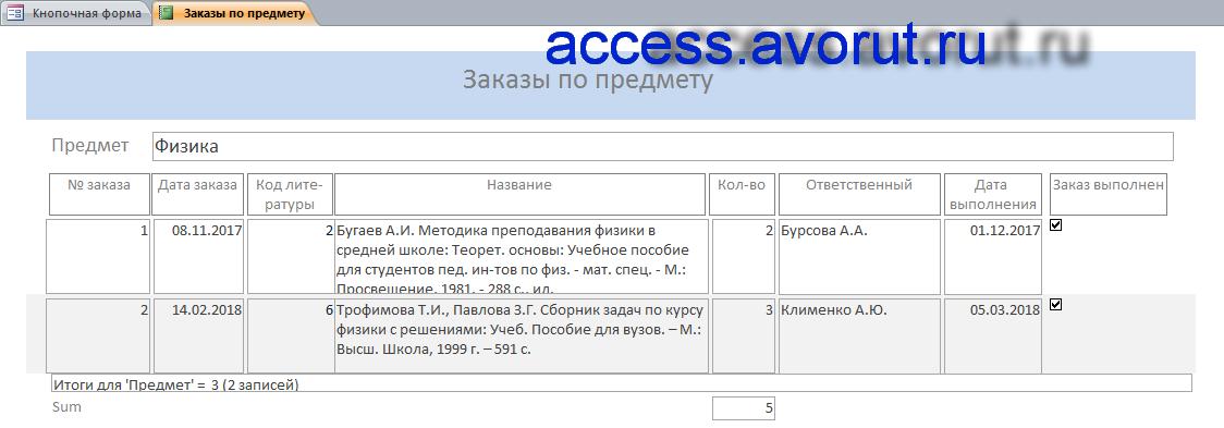 Готовый шаблон базы данных Access «Учёт литературы по предметам и темам»