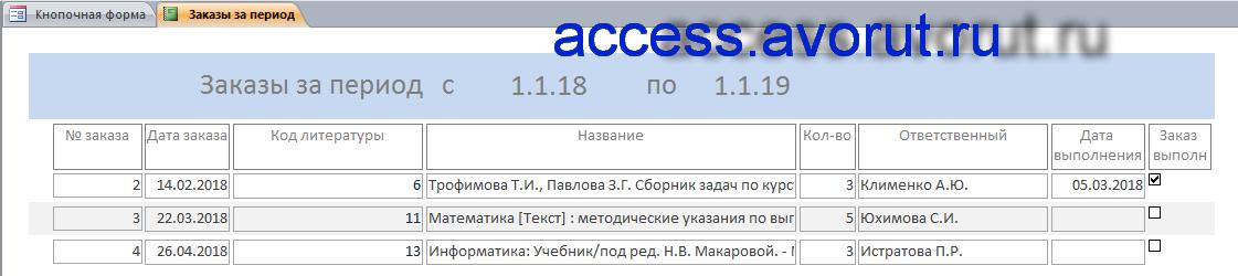 Простая база данных Access «Учёт литературы по предметам и темам»