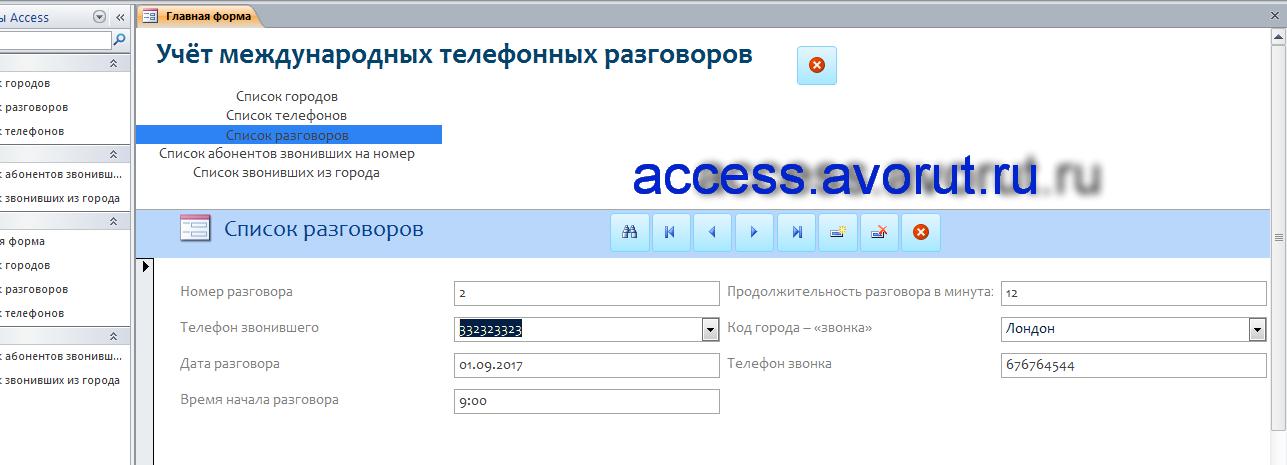 Контрольная база данных access «Учёт международных телефонных разговоров»