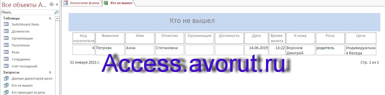 Отчёт в готовой базе данных «Учёт посетителей школы»