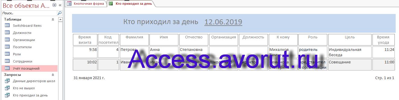 """Пример готовой базы данных """"Учёт посетителей школы"""" для курсовой работы"""