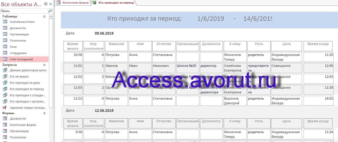 Отчёт в готовой базе данных «Учёт посетителей школы» для курсовой, дипломной работы по СУБД