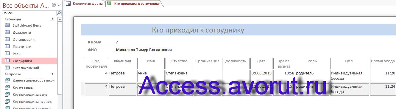 Пример базы данных «Учёт посетителей школы» в access. Пример отчёта