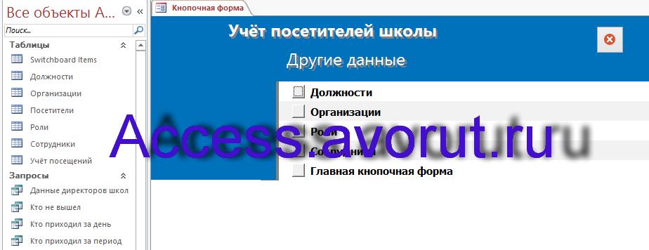 """Страница """"Другие данные"""" главной кнопочной формы базы данных «Учёт посетителей школы»"""