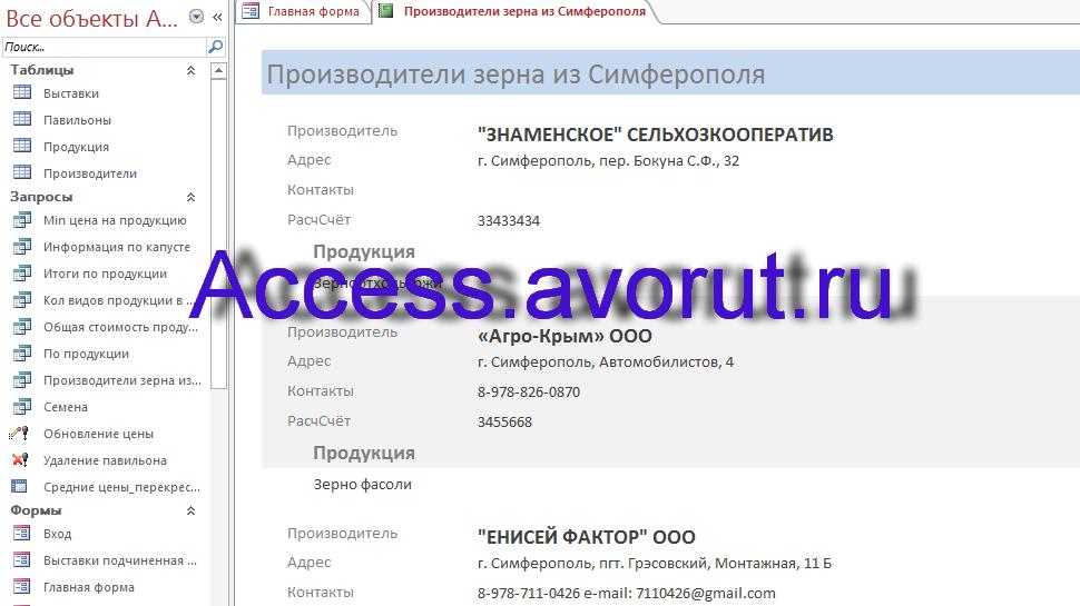 Скачать базу данных Access «Выставка-продажа сельскохозяйственной продукции». Отчёт в базе данных