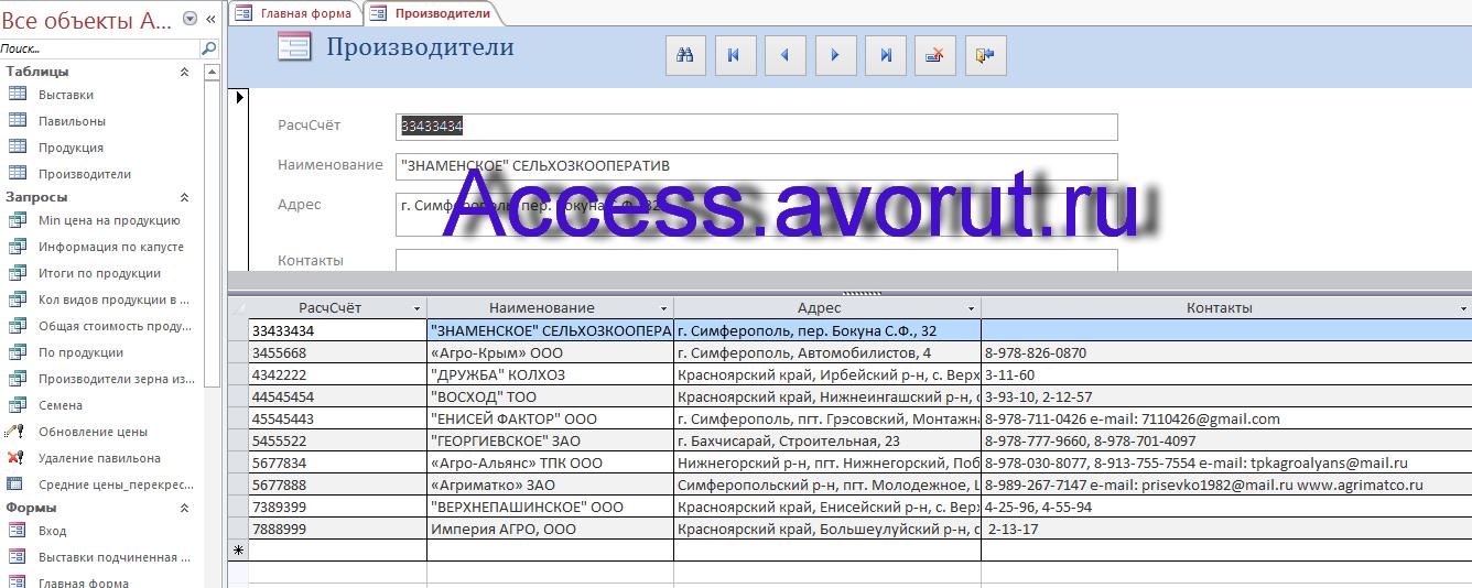 Готовая база данных Access «Выставка-продажа сельскохозяйственной продукции». Форма Производители