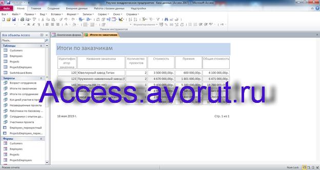 Скачать базу данных access Научно-внедренческое предприятие