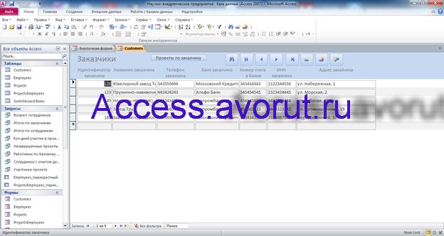 Скачать базу данных access Научно-внедренческое предприятие. Форма Заказчики
