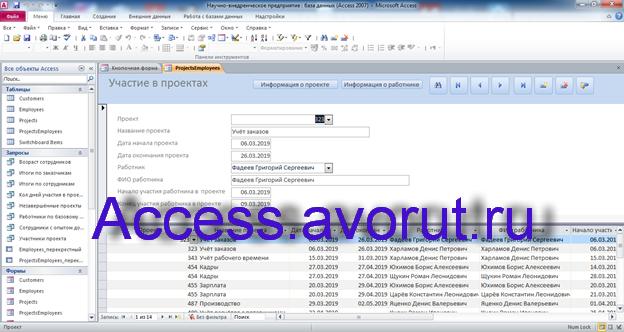 Скачать базу данных access Научно-внедренческое предприятие. Форма Участие в проектах