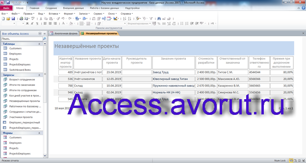 Пример базы данных access Научно-внедренческое предприятие.