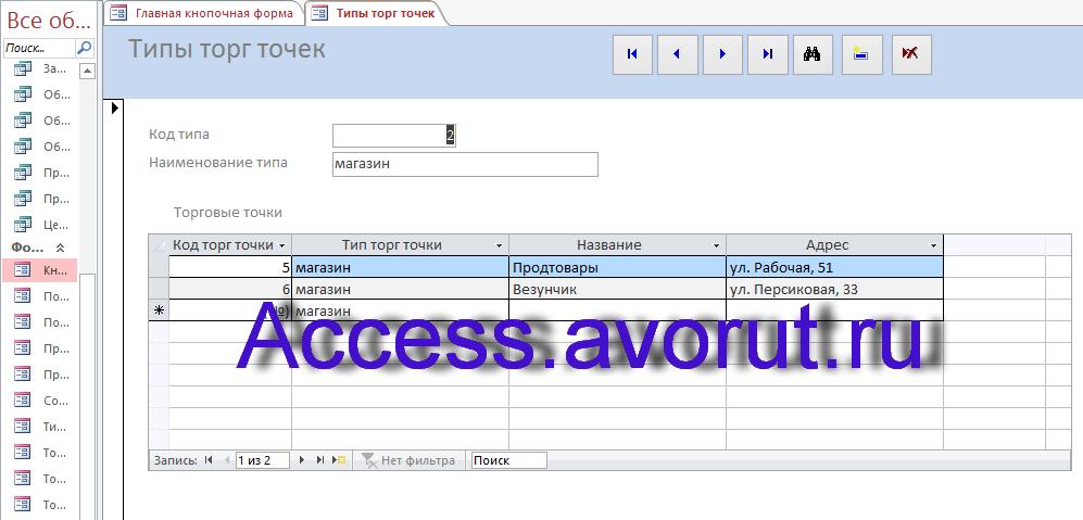 Скачать базу данных Access «ИС торговой организации». Форма Типы торговых точек