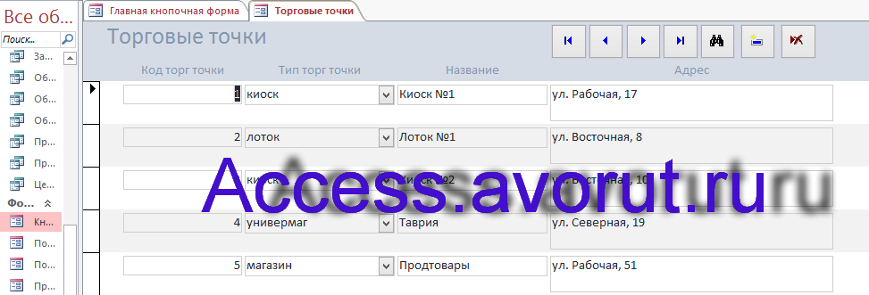 Пример базы данных Access «ИС торговой организации». Форма Торговые точки