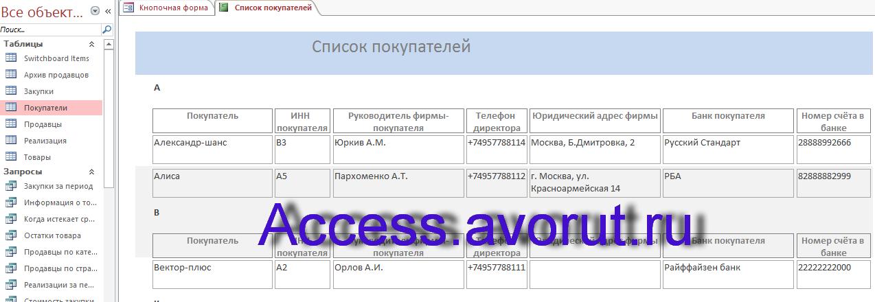 Скачать базу данных access Торгово-посредническая фирма. Список покупателей