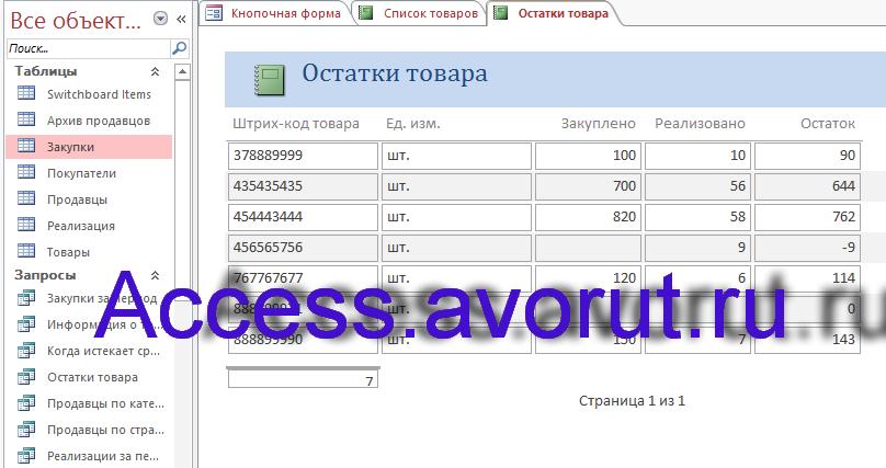 Готовая база данных access Торгово-посредническая фирма Столица. Отчёт Остатки товара.