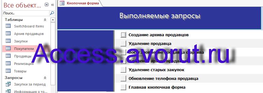 Готовая база данных access Торгово-посредническая фирма Столица. Страница Выполняемы запросы