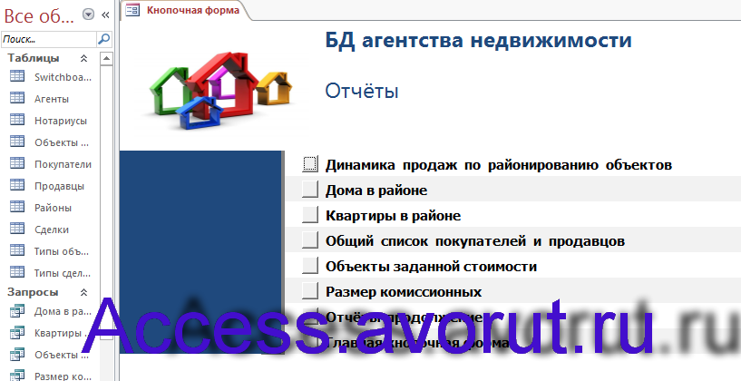Пример базы данных access БД агентства недвижимости. Страница Отчёты главной кнопочной формы