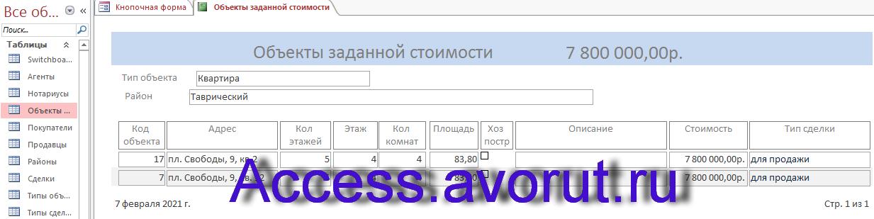 Готовая база данных access БД агентства недвижимости. Отчёт