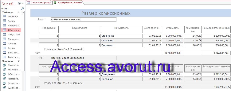 Пример базы данных access БД агентства недвижимости. Отчёт о размере комиссионных