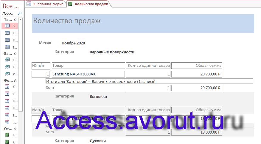 Готовая база данных Access «Магазин бытовой техники»