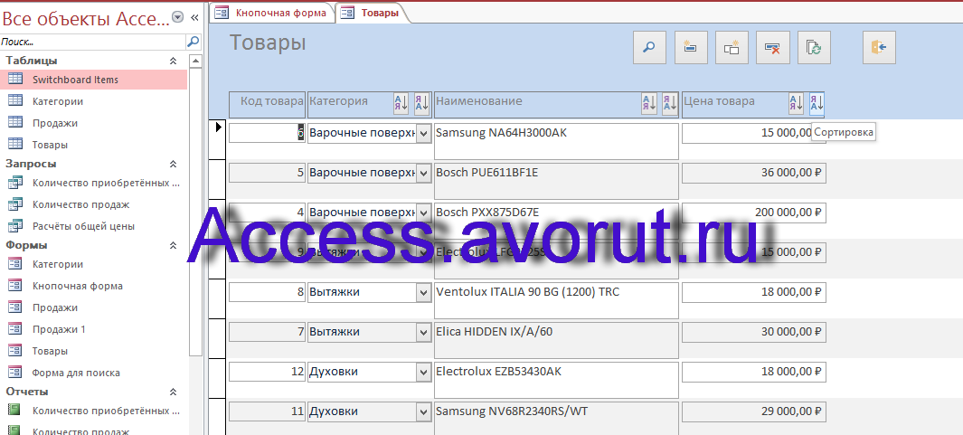 Готовая база данных Access «Магазин бытовой техники». Форма Товары