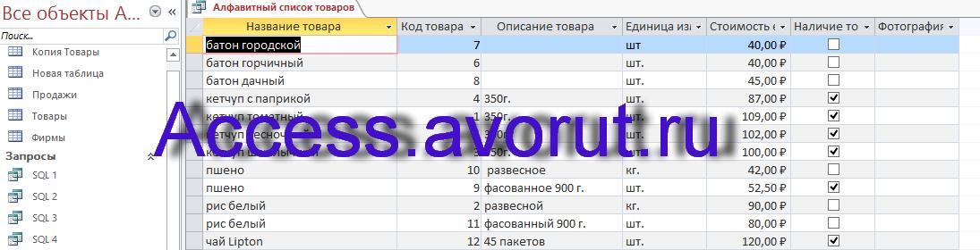Скачать базу данных access Торговые операции. Запрос Алфавитный список товаров