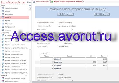 Готовая база данных Access «Пассажирское судоходство» (Круизные лайнеры). Отчёт Круизы по дате отправления за период.