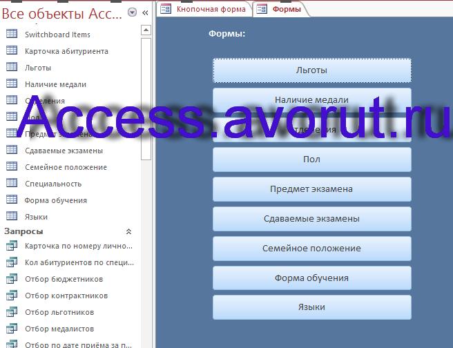 Скачать базу данных access Абитуриенты. Форма с кнопками для вызова форм.
