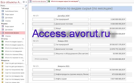 Скачать базу данных access Экспорт сырья. Отчёт. Итоги по видам сырья по месяцам