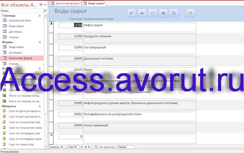 Скачать базу данных access Экспорт сырья. Форма Виды сырья.