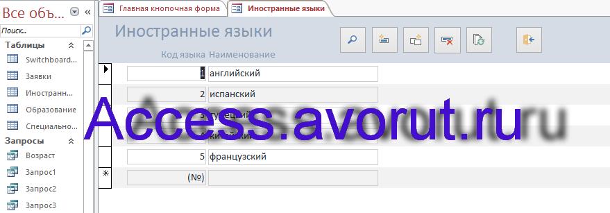 Скачать базу данных access Кадровое агентство. Форма Иностранные языки