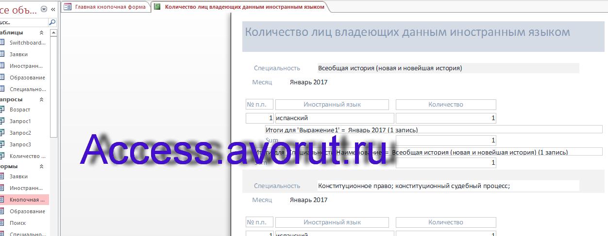 Готовая база данных access Кадровое агентство. Отчёт Количество лиц владеющих данным иностранным языком.