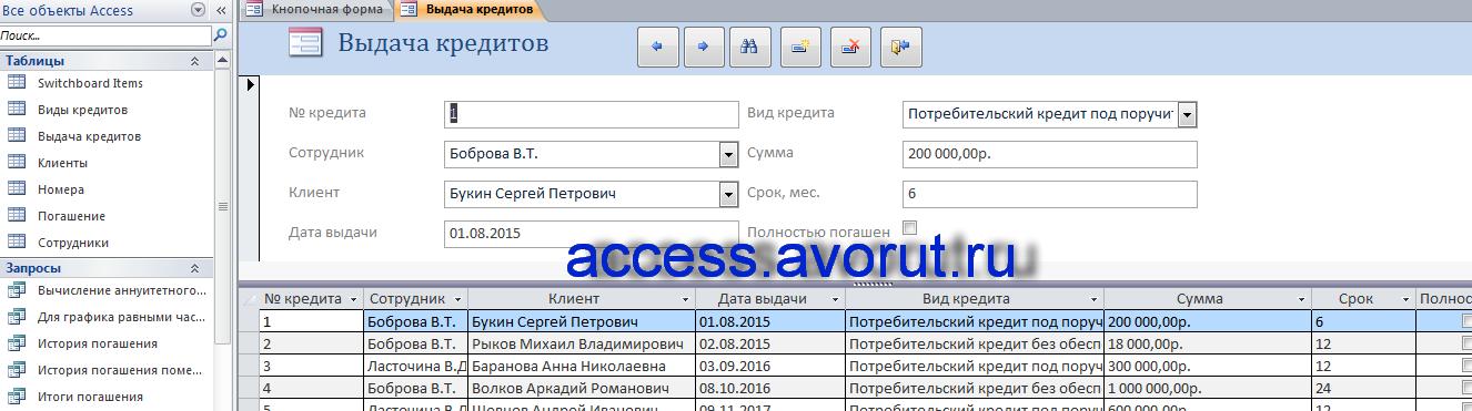 Скачать пример базы данных access Учёт платежей по потребительским кредитам. Форма «Выдача кредитов»