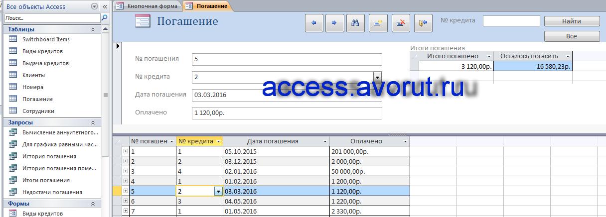 Скачать базу данных access Учёт платежей по потребительским кредитам. Форма «Погашение»