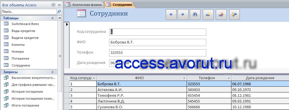 Скачать курсовую по базам данных access Учёт платежей по потребительским кредитам. Форма «Сотрудники»