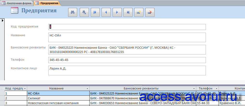 Форма «Предприятия» бд access «Анализ динамики показателей финансовой отчетности различных предприятий».