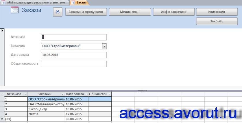 """Форма """"Заказы"""" базы данных «АРМ управляющего рекламным агентством»"""