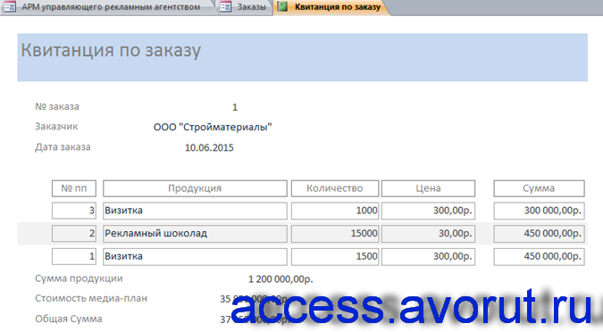 Квитанция по заказу в готовой базе данных для рекламного агентства