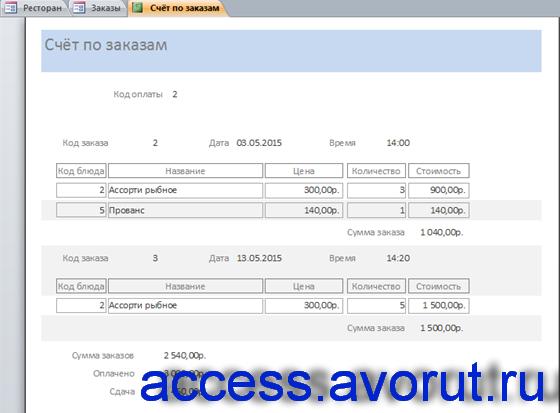 Отчёт «Счёт по выбранным заказам» для готовой базы данных Ресторан