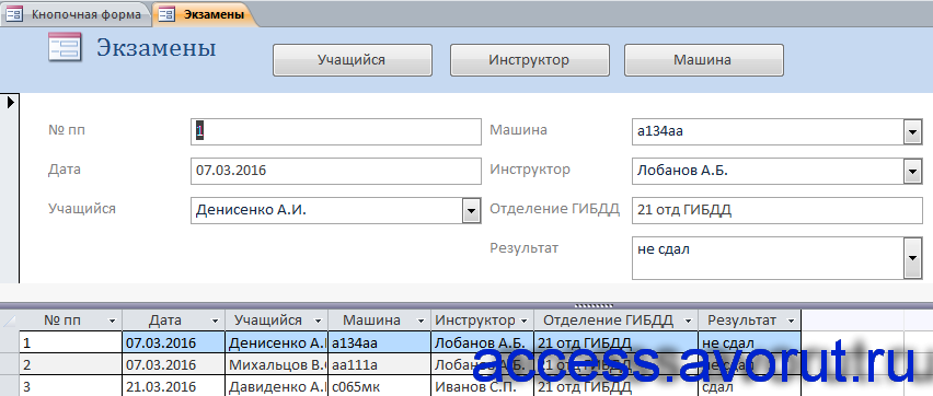 Форма «Экзамены» готовой базы данных «Автошкола».