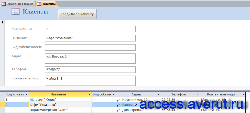 Готовая база данных access «Выдача банком кредитов». Форма «Клиенты».