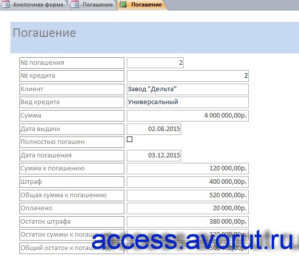 Отчёт по погашению. Готовая база данных «Выдача банком кредитов».